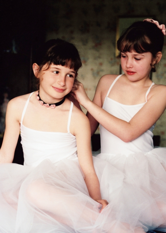 My nieces Collette and Andi were happy to pose  as  Degas ballerinas for me.