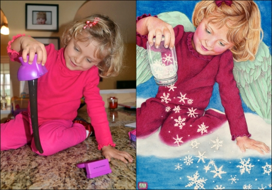 I converted Sayla playing with her slime (last year's favorite Christmas gift) into an angel pouring snowflakes from a jar.