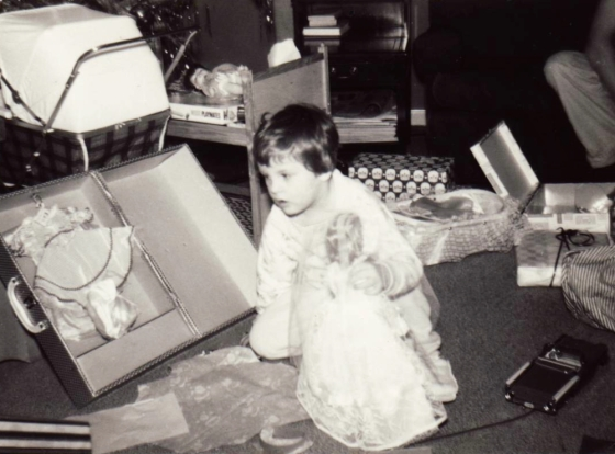 Me unwrapping the joy on Christmas morning 1963