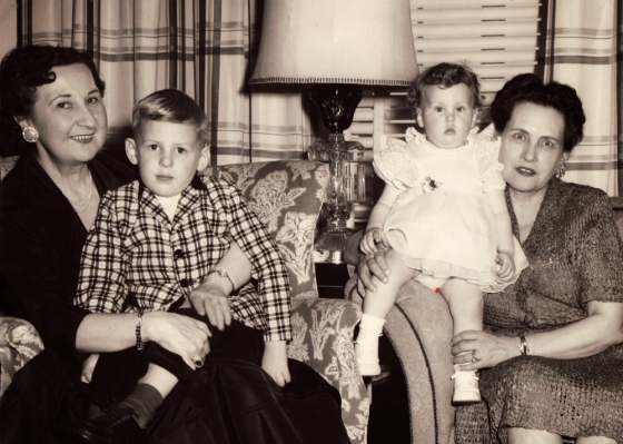 My Grandma Fahrner, my brother Steve, me, and my Grandma Ragen on Mother's Day, 1958