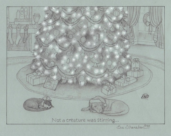 A sketch I did during the Clinton Administration. Family pets Buddy and Socks snooze under the official tree.