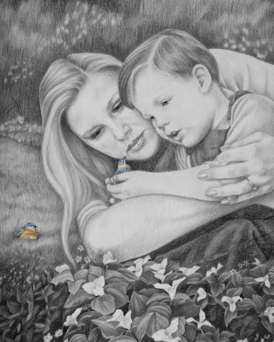 Looking back at this illustration of Ann and my son Rob, must be where my bluebird connection with her first began.
